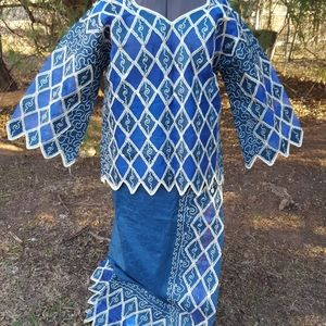 Woman's African Three Piece Embroidered Dress